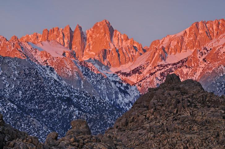 Mt. Whitney at sunrise Eastern Sierra Nevada Mountains and Alabama Hills, California, USA